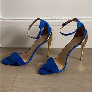 Zara Colorblock Stiletto Sandals Sz 37 Blue/Gold